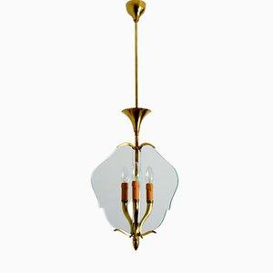Lámpara colgante italiana de vidrio y latón, años 50