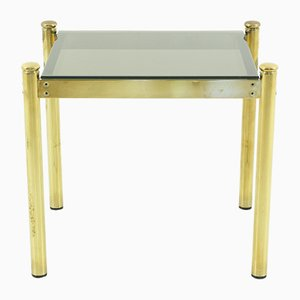 Vintage Brass Coffee Table with Smoked Glass Top