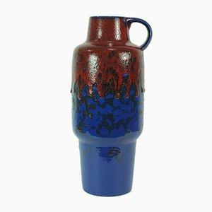 Jarrón Fat Lava vintage en azul y rojo