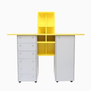 Dutch Grey & Yellow Storage Unit, 1980s