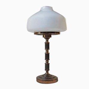 Schwedische Art Deco Messing & Opalglas Tischlampe von GBW, 1950er