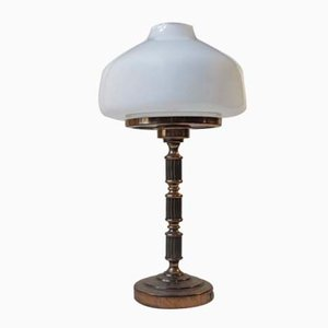 Swedish Art Deco Brass & Opal Glass Table Lamp from GBW, 1950s