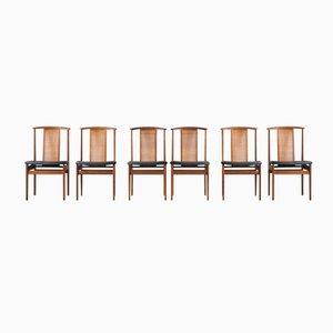 Rattan Esszimmerstühle von Dux, 1960er, 6er Set