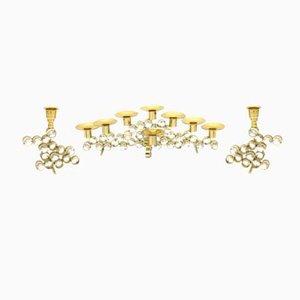 Candeleros de latón dorado de Palwa, años 70. Juego de 3