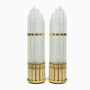 Lámparas de mesa italianas de cristal de Murano y metal dorado, años 70. Juego de 2