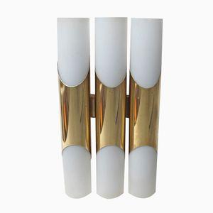 Vintage Brass & Opaline Glass Wall Light with Six Light Sources from Neuhaus Leuchten