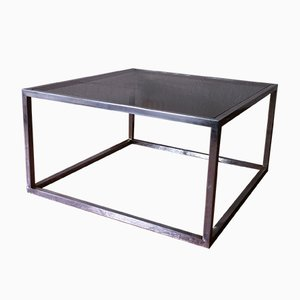 Mesa de centro vintage cuadrada de cristal ahumado y aluminio, años 60