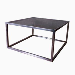 Table Basse Vintage Carrée en Verre Fumé et en Aluminium, 1960s