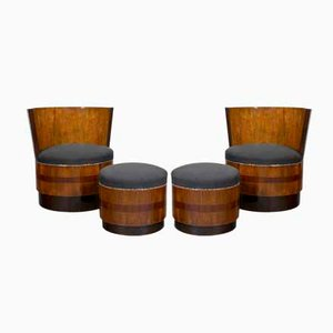 Vintage Art Deco French Barrel Chairs with Footstools, Set of 2