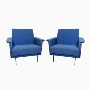 Blue Lounge Chairs, 1950s, Set of 2