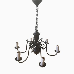 Vintage Black Dutch Six-Arm Chandelier