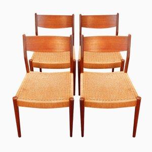 Sillas de comedor vintage con asientos de hilo de sisal. Juego de 4