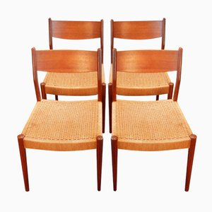 Vintage Dining Chairs with Papercord Seats, Set of 4