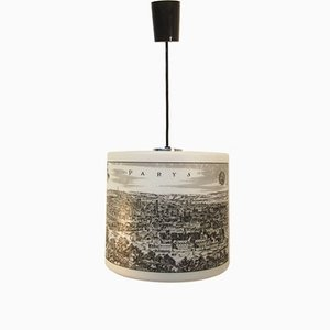 French Engraved White Glass Ceiling Light from Arlus