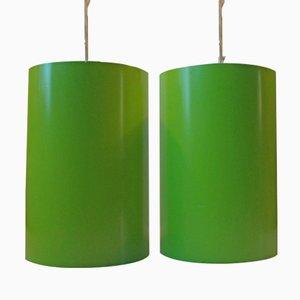 Lampade a sospensione cilindriche di Eila & John Meiling di Louis Poulsen, Danimarca, anni '70, set di 2
