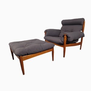 Vintage Danish Teak Chair & Ottoman