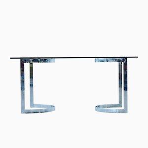 Tavolo da pranzo Space Age in vetro e placcato in cromo di Milo Baughman, anni '70