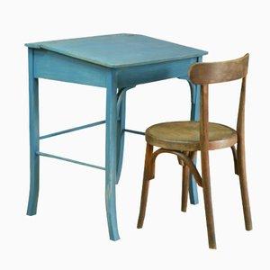 Vintage Schulbank mit Stuhl aus Holz von Baumann and Fischel, 1950er
