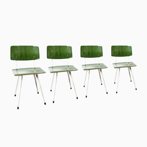 Green German School Chairs, Set of 4