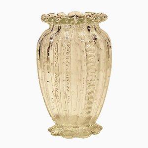 Jarrón danés antiguo de vidrio soplado a boca