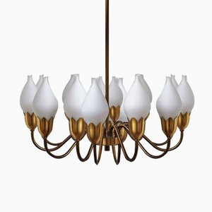 Mid-Century Danish Brass & Opaline Glass Chandelier from Fog & Mørup