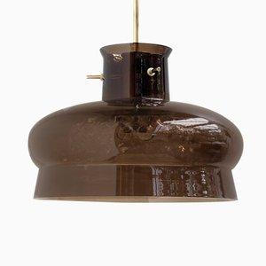 Lámpara colgante de vidrio ahumado de Carl Fagerlund para Orrefors, años 60