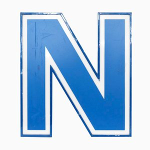 Illuminated Letter N in White and Blue, 1970s