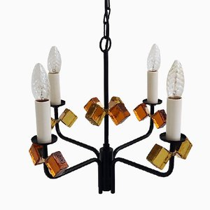 Mid-Century Danish Black Iron & Colored Glass Chandelier from Holm Sørensen