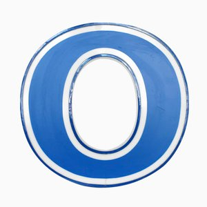 Illuminated Letter O in White and Blue, 1970s