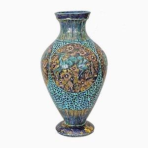 Emaillierte Steingut Vase von Jean Mayodon, 1930er
