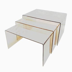 Space Age Smoked Plexiglas Nesting Tables, 1960s, Set of 3