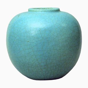 Steingut Vase in Türkis von René Buthaud, 1920er