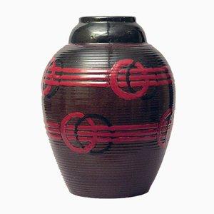 Französische Steingut Vase mit Brauner und Roter Glasur von Luc Lanel, 1920er