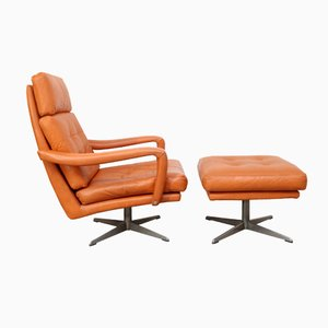 Cognac Leather Lounge Chair & Ottoman, 1970s