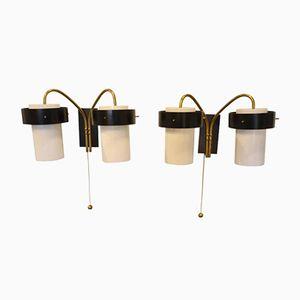 Vintage Italian Double Light Sconces from Stilnovo, Set of 2