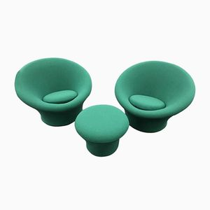 Green Mushroom Chairs & Ottoman by Pierre Paulin for Artifort, 1960, Set of 2
