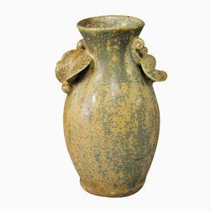 Jarrón pequeño de cerámica marrón verdoso de Arne Bang, años 60