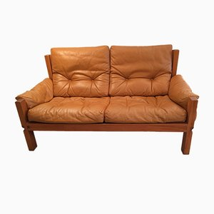 S22 Leather 2-Seater Sofa by Pierre Chapo, 1970s