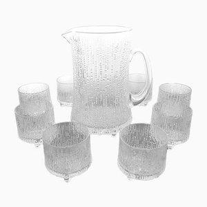 Set Ultima Thule di bicchieri e brocca in vetro di Tapio Wirkkala per Iittala, anni '60
