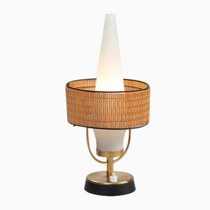 Lampe de Table Vintage avec Abat-Jour en Verre Givré, Italie