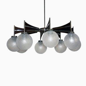 Lámpara de araña grande con ocho luces, años 60