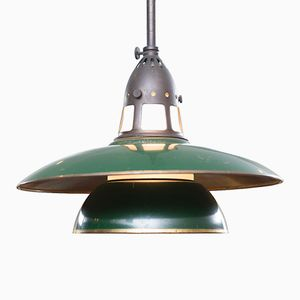 Vintage Green Brass & Frosted Glass Pendant from Lyfa