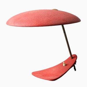 Lámpara de mesa italiana modernista Mid-Century con barniz rojo