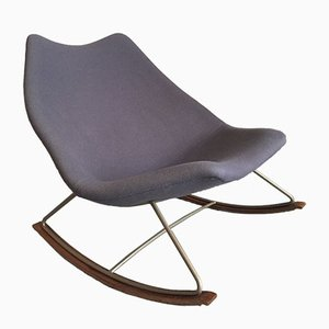 F595 Rocking Chair in Blue Fabric and Steel by Geoffrey Harcourt for Artifort, 1960s