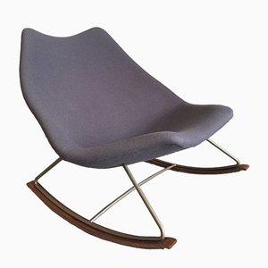 Sedia a dondolo F595 in acciaio e tessuto blu di Geoffrey Harcourt per Artifort, anni '60