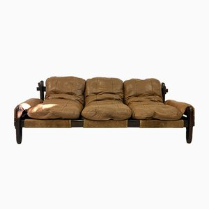 Vintage Brazilian Leather and Imbula Sofa by Jean Gillon for Probel