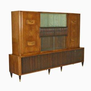 Mueble italiano de vidrio, chapa de caoba y latón, años 50