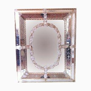 Espejo veneciano vintage de cristal de Murano