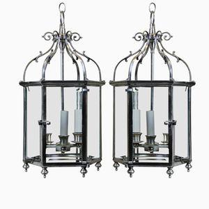 Lanterne vintage in argento, Regno Unito, set di 2