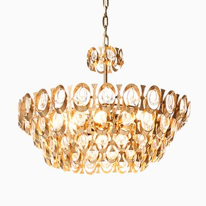 Eight-Light Gold-Plated Brass and Crystal Chandelier from Palwa, 1960s